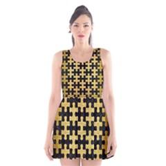 PUZ1 BK MARBLE GOLD Scoop Neck Skater Dress