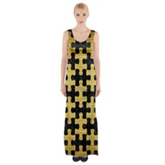 Puzzle1 Black Marble & Gold Brushed Metal Maxi Thigh Split Dress