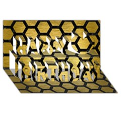 Hexagon2 Black Marble & Gold Brushed Metal (r) Happy Birthday 3d Greeting Card (8x4)