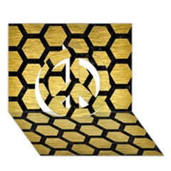 Hexagon2 Black Marble & Gold Brushed Metal (r) Peace Sign 3d Greeting Card (7x5)