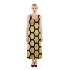 HXG2 BK MARBLE GOLD (R) Full Print Maxi Dress