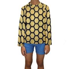 HXG2 BK MARBLE GOLD (R) Kid s Long Sleeve Swimwear