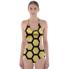 Hexagon2 Black Marble & Gold Brushed Metal (r) Cut Out One Piece Swimsuit
