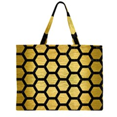 HXG2 BK MARBLE GOLD (R) Large Tote Bag