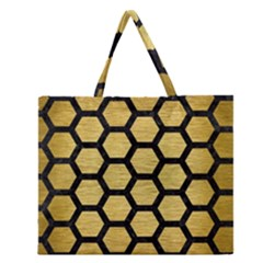 Hexagon2 Black Marble & Gold Brushed Metal (r) Zipper Large Tote Bag