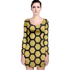 HXG2 BK MARBLE GOLD (R) Long Sleeve Velvet Bodycon Dress