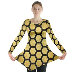 HXG2 BK MARBLE GOLD (R) Long Sleeve Tunic