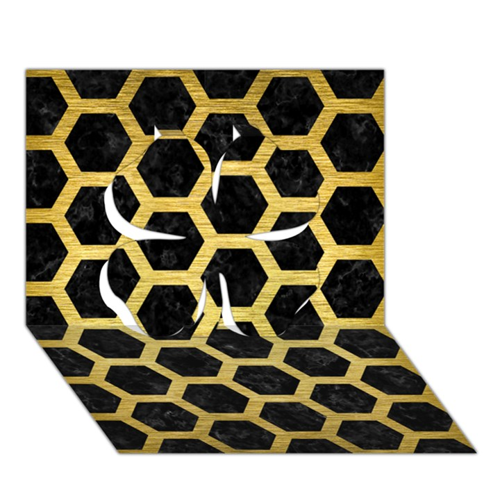 HEXAGON2 BLACK MARBLE & GOLD BRUSHED METAL Clover 3D Greeting Card (7x5)