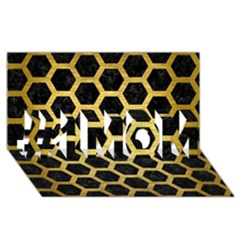 Hexagon2 Black Marble & Gold Brushed Metal #1 Mom 3d Greeting Cards (8x4)