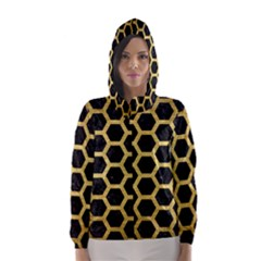 Hexagon2 Black Marble & Gold Brushed Metal Hooded Wind Breaker (women)