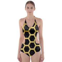 HXG2 BK MARBLE GOLD Cut-Out One Piece Swimsuit