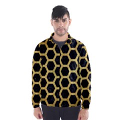 Hexagon2 Black Marble & Gold Brushed Metal Wind Breaker (men)