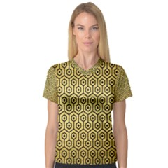 Hexagon1 Black Marble & Gold Brushed Metal (r) V Neck Sport Mesh Tee
