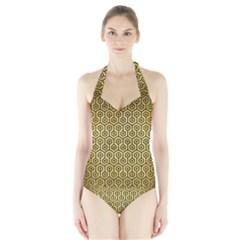 HXG1 BK MARBLE GOLD (R) Women s Halter One Piece Swimsuit