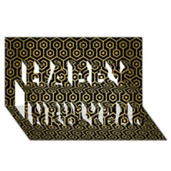Hexagon1 Black Marble & Gold Brushed Metal Happy New Year 3d Greeting Card (8x4)