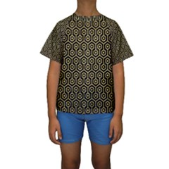 HXG1 BK MARBLE GOLD Kid s Short Sleeve Swimwear