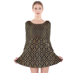 Hexagon1 Black Marble & Gold Brushed Metal Long Sleeve Velvet Skater Dress