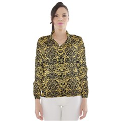 Damask2 Black Marble & Gold Brushed Metal (r) Wind Breaker (women)