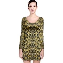 DMS2 BK MARBLE GOLD (R) Long Sleeve Velvet Bodycon Dress