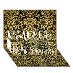 Damask2 Black Marble & Gold Brushed Metal You Are Invited 3d Greeting Card (7x5)