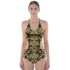 DMS2 BK MARBLE GOLD Cut-Out One Piece Swimsuit