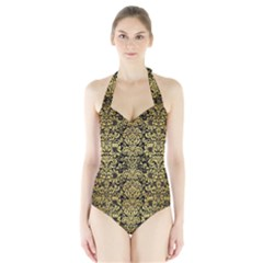 Damask2 Black Marble & Gold Brushed Metal Halter Swimsuit