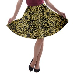Damask2 Black Marble & Gold Brushed Metal A Line Skater Skirt