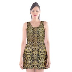 Damask2 Black Marble & Gold Brushed Metal Scoop Neck Skater Dress
