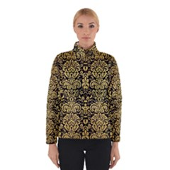 Damask2 Black Marble & Gold Brushed Metal Winter Jacket