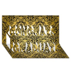Damask1 Black Marble & Gold Brushed Metal (r) Congrats Graduate 3d Greeting Card (8x4)
