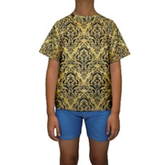DMS1 BK MARBLE GOLD (R) Kid s Short Sleeve Swimwear