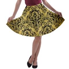 DMS1 BK MARBLE GOLD (R) A-line Skater Skirt