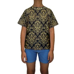 DMS1 BK MARBLE GOLD Kid s Short Sleeve Swimwear