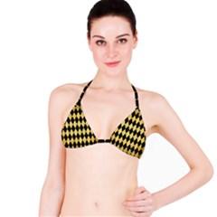 Diamond1 Black Marble & Gold Brushed Metal Bikini Top