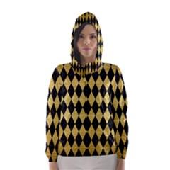 DIA1 BK MARBLE GOLD Hooded Wind Breaker (Women)