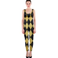 Diamond1 Black Marble & Gold Brushed Metal Onepiece Catsuit