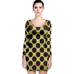 CIR2 BK MARBLE GOLD (R) Long Sleeve Velvet Bodycon Dress