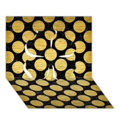 Circles2 Black Marble & Gold Brushed Metal Clover 3d Greeting Card (7x5)