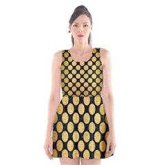 CIR2 BK MARBLE GOLD Scoop Neck Skater Dress