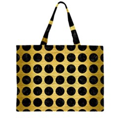 CIR1 BK MARBLE GOLD (R) Large Tote Bag