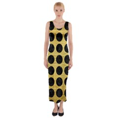 Circles1 Black Marble & Gold Brushed Metal (r) Fitted Maxi Dress