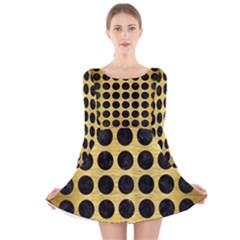 CIR1 BK MARBLE GOLD (R) Long Sleeve Velvet Skater Dress