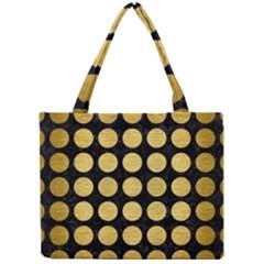 Circles1 Black Marble & Gold Brushed Metal Mini Tote Bag