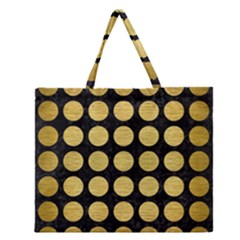 CIR1 BK MARBLE GOLD Zipper Large Tote Bag