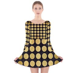 CIR1 BK MARBLE GOLD Long Sleeve Velvet Skater Dress