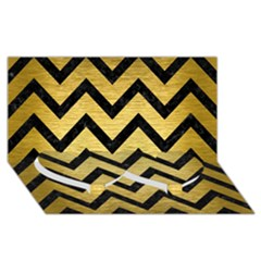 Chevron9 Black Marble & Gold Brushed Metal (r) Twin Heart Bottom 3d Greeting Card (8x4)