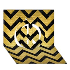 Chevron9 Black Marble & Gold Brushed Metal (r) Peace Sign 3d Greeting Card (7x5)