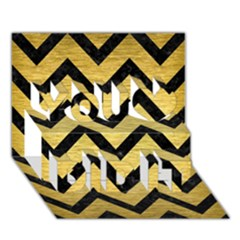 Chevron9 Black Marble & Gold Brushed Metal (r) You Did It 3d Greeting Card (7x5)
