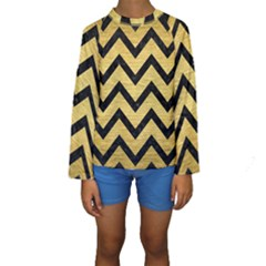 CHV9 BK MARBLE GOLD (R) Kid s Long Sleeve Swimwear
