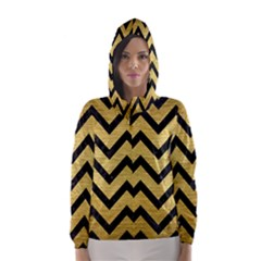 CHV9 BK MARBLE GOLD (R) Hooded Wind Breaker (Women)
